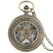 Copper Retro Bronze Pocket Watch Half Hunter Star Chain Necklace Men Women