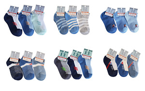Baby Boys Toddlers Kids TRAINER Socks 3 Pack ASSORTED Seamless Cotton 1-9 Years