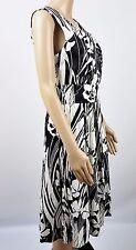East 5th A-Line Knee Length Sleeveless Dress White Black Tropical Cotton Blend