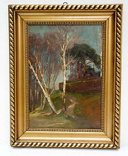 """Interesante Pintura al óleo:"""" La Manera De Abedul"""",en el marco oro 39x49 cm Ö41)"""