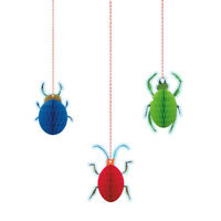 """3 Bugs 4"""" Hanging Decorations Boys Birthday Party Blue Insects Honeycomb Decor"""