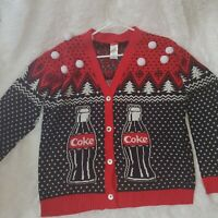 Coca-Cola Polar Bears Ugly Christmas Sweater Women's XL Cardigan Coke Bottles