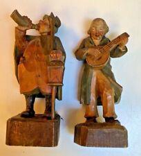 Anri~Vintage Hand Carved painted Italian pair of figures~Musician and Town Crier