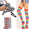 Fashion Women Cotton Sock Thigh High Striped Over the Knee Slim Leg Stockings #N