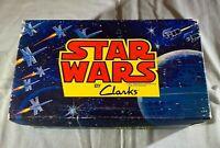 1977 STAR WARS BY CLARKS VTG GRAPHIC SHOE BOX - LUKE LEIA DARTH VADER C-3PO RARE