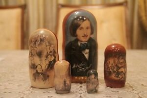 "Gogol Famous russian writer Matryoshka russian doll stacking nesting doll 5pc ""7"