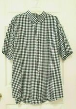 WALNUT CREEK MEN'S CASUAL BLACK/WHITE PLAID FRONT BUTTON SHIRT     SIZE 2XLT