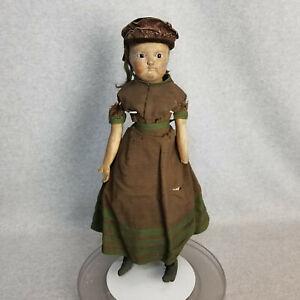 "18"" antique papier-mache shoulder head Doll w glass eyes for Restoration 1800s"