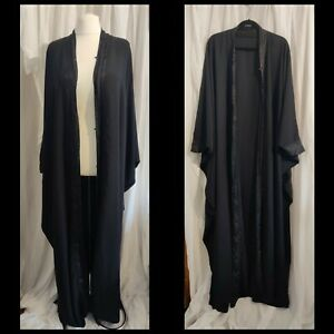 """Handmade black oversized gown W62"""" L62"""" batwing long sleeves lace damask trim"""