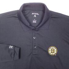 Boston Bruins Mens Long Sleeve Black Polo Shirt Antigua Size Small Hockey Golf