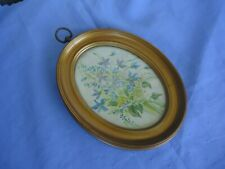 """vintage gold oval picture photo frame silk satin picture floral 7"""" x 5"""" 18 x 12"""