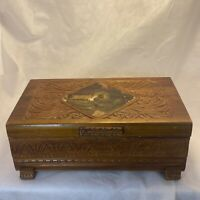 Vintage Hand Carved Cedar Wood Treasure Box Mural Lid Footed Mirror inside Lid
