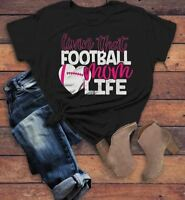 Women's Football Mom T Shirt Livin That Football Mom Life Tee Game Day Shirts