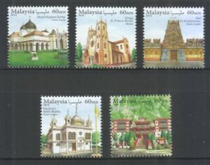 MALAYSIA 2016 PLACES OF WORSHIP (MOSQUE,CHURCH,TEMPLE) COMP. SET 5 STAMPS MINT