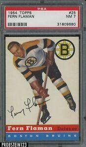 1954 Topps Hockey #25 Fern Flaman Boston Bruins PSA 7 NM