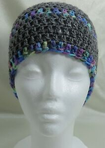 Handmade Knit Ski Winter Hat - Dark Gray with Multi-color Bands