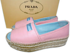 Prada Pink Leather Peep Toe Flat Wedge Espadrille Slides Mules Shoes 39