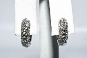 $2,500 1.25CT NATURAL ROUND CUT DIAMOND CLUSTER PETITE HUGGIE HOOP EARRINGS 14K