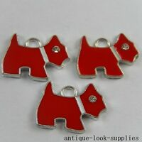 Red&Sliver Tone Alloy Enamel Tiny Dog Crystal Pendants Crafts Charms 20x 51004