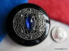 3690-D – Large Bakelite Button Cobalt Blue Faceted Marquise Jewel, Filigree OME