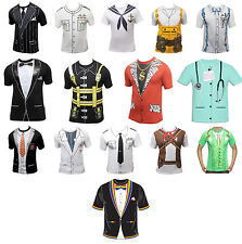 ADULTS MEN'S SURGEON DOCTOR CAPTAIN ALL PRINTED T-SHIRTS FANCY DRESS COSTUME