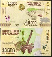 UNC 10000 MADAGASCAR Highest Denom. 10,000 New Sig. P-New ND 2015