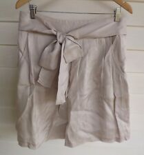 Basque Women's Beige Skirt with Fabric Tie/Belt - Size 14