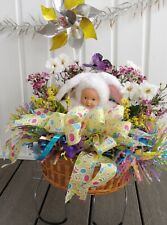 Easter Baby in Bunny Outfit Basket Cemetery Grave Tombstone Saddle Pinwheel