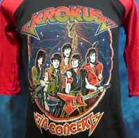 vintage 80s KROKUS RAGLAN CONCERT T-Shirt SMALL jersey hard rock metal tour thin