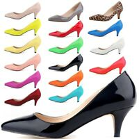 Women's Low Mid Kitten Heels Slip On Court Shoes Pointed Pumps Party Office Work