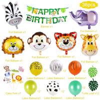 36pcs Jungle Safari Animal Party Supply Foil Latex Balloon Banner Birthday Decor
