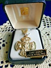 """CREED NEW """"GOLD 24-KT """"4-WAY CROSS"""" MEDAL 1-1/8""""H, 24"""" Chain,Gift Case, VP4444Q"""
