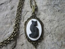 HALLOWEEN BLACK CAT CAMEO BRONZE NECKLACE - WITCH - COSTUME ACCESSORY