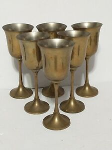 Vintage Brass RIH Wine Goblets India Set of 6 / 6 1/2 inches Tall Unpolished