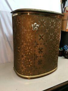 Vintage Mid Century Atomic  Gold Green  1950s Hamper Laundry Basket  Vinyl lid