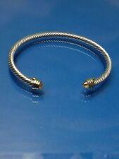 Silver Gold Finish  Light Yellow  Crystal  Designer Inspired  Open Cuff Bracelet