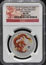 2012 P Australia $1 Argento NGC MS70 1/2oz Dragon Lunar colourised .999 50 CENT