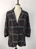 Torrid Plus Sz 2 Jacket Coat Blazer Pockets Stretch Button Front Plaid