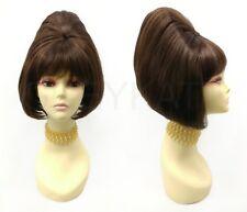 60s Beehive Wig Sixties Retro Brown Short Straight Vintage Costume Drag