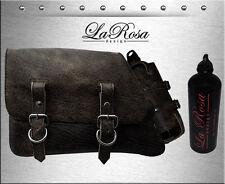 1982-03 La Rosa Rustic Black Leather Harley Sportster Saddle Bag + Fuel Bottle