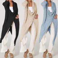 Women High Split Blouse Long Sleeve Cowl Neck Loose Flared T Shirt Plus Size Top