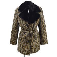 FENDI Belted Zucca Pattern Long Sleeve Jacket Coat Brown Black Authentic 70864