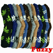 6 Pairs For Mens Womens Soft Cozy Fuzzy Leaf Weed Winter Crew Home Slipper Socks