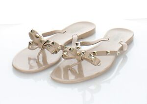 L48 $425 Women's Sz 41 M Valentino Rockstud Jelly Bow Sandals In Poudre