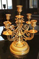 Chandelier à 4 branches 5 feux en bronze et laiton XIXe Napoléon III