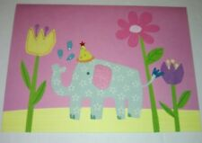 Papyrus Happy Birthday Card Flowered Elephant Flowers Splash Party Hat Pink