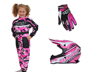 Kids Wulfsport Motocross MX Childrens Overall Helmet Glove Pink Camo Set #PO8