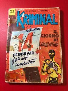 KRIMINAL N° 23  LIRE 150 IL GIORNO DI S. VALENTINO  1965
