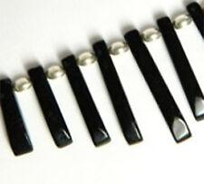 Black onyx focal ventilateur pendentif set, pierre précieuse, collier