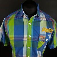 Superdry Mens Shirt SMALL Short Sleeve Blue Regular Fit Check Cotton